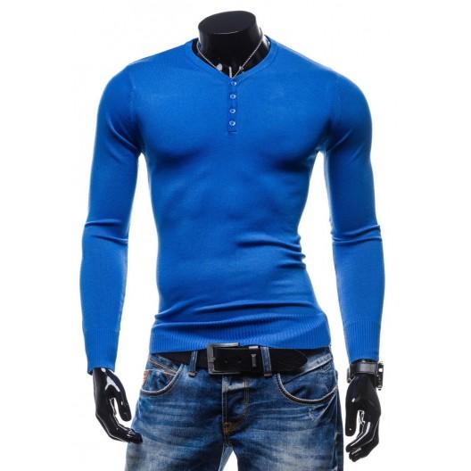Elegantné pánske svetre modrej farby s gombíkmi
