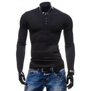 Moderné pánske svetre čiernej farby s dlhým rukávom