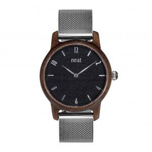 Dámske náramkové drevené hodinky v čierno striebornej farbe