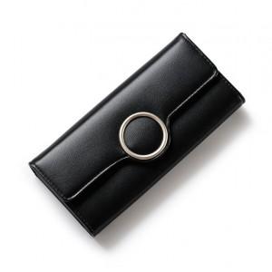Elegantná dámska peňaženka čiernej farby s kruhovou prackou