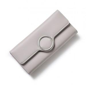 Sivá elegantná dámska peňaženka s kruhovou prackou