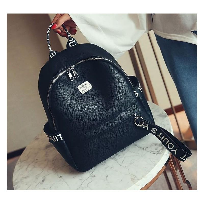8592c6e722 Dizajnový čierny dámsky batoh s nápismi