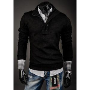 Pánsky sveter na každú príležitosť čiernej farby s golierom a zipsom