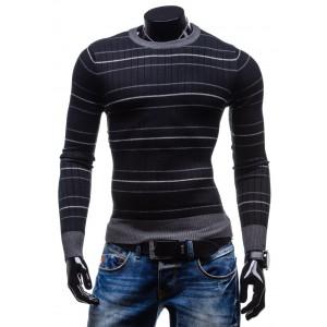 Štýlové pánske svetre čiernej farby s bielymi pruhmi