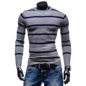 Spoločenské pánske svetre sivej farby s modrými pruhmi