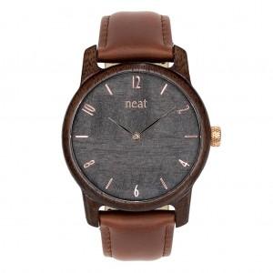 Elegantné pánske hnedé drevené hodinky so sivým ciferníkom
