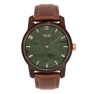 Drevené pánske hnedé hodinky so zeleným ciferníkom