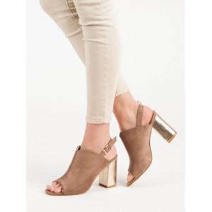 Pohodlné dámske tmavo béžové sandále s remienkom a zlatým opätkom