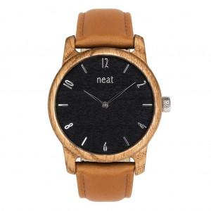 Hnedé drevené pánske hodinky s čiernym ciferníkom