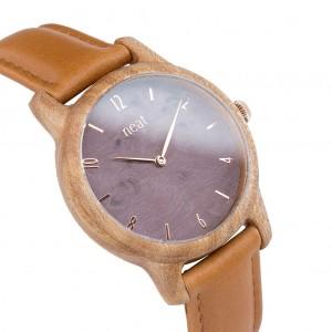 Dámske drevené hodinky na ruku s fialovým ciferníkom a koženým remienkom