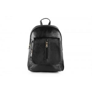 Čierny koženkový dámsky batoh