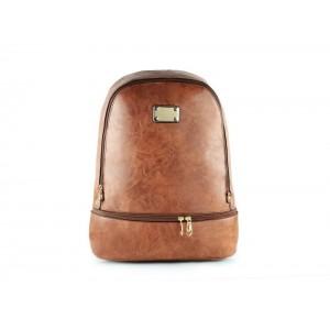 Hnedý dámsky ruksak s vreckom v spodnej časti