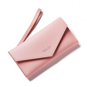 Dámska mäkká elegantná peňaženka ružovej farby