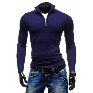 Pánske svetre, ktoré osviežia váš šatník sýto-modrej farby so zipsom
