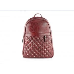Prešívaný dámský batoh v bordovej farbe