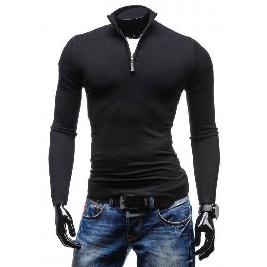 Kancelársky outfit sveter so zipsom čiernej farby