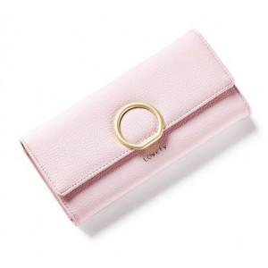 Svetloružová dámska veľká peňaženka so zlatou sponou