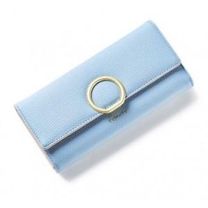 Svetlomodrá dámska peňaženka so zlatou kruhovou sponou