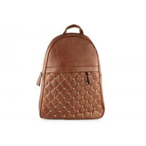 Hnedý dámsky ruksak s vybíjanými cvokmi