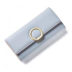 Svetlosivá dámska peňaženka so zlatou kruhovou sponou