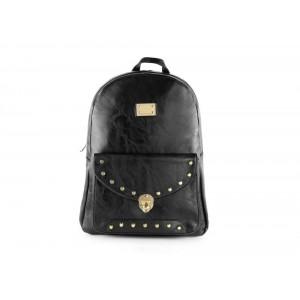 Čierny dámsky ruksak s predným vreckom so zapínaním na pracku