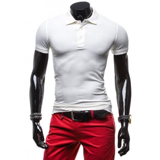 Pánske tričká bielej farby s gombíkmi