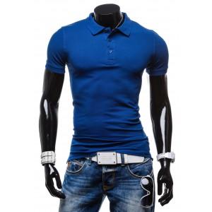 Pánske tričká modrej farby s golierom