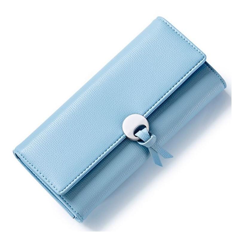 f01707c950f9 Elegantná dámska modrá peňaženka s kovovou prackou