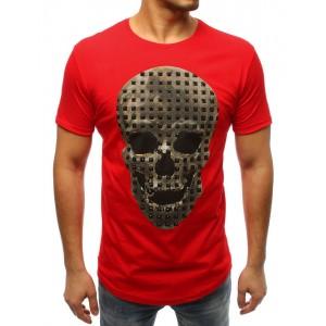 Červené tričko s krátkym rukávom a potlačou lebky