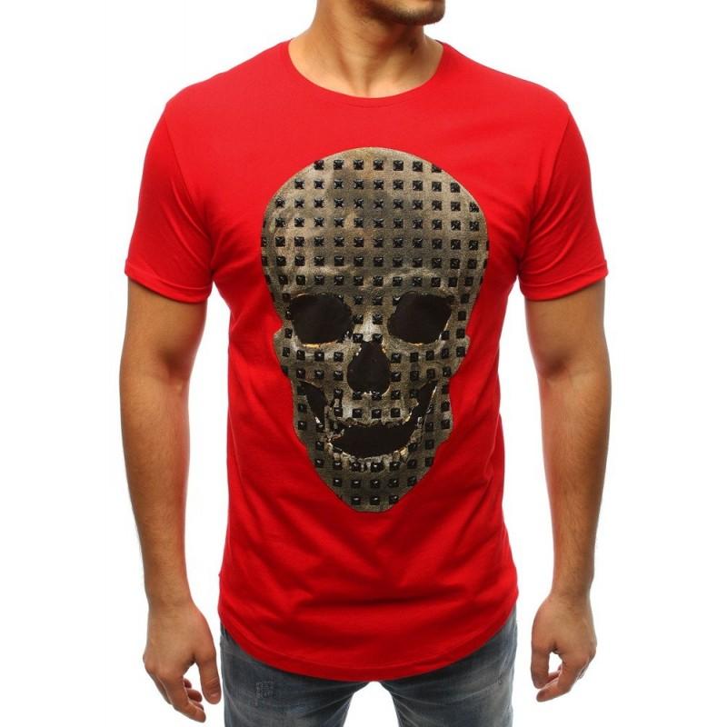 e4f30ac244a7 Červené tričko s krátkym rukávom a potlačou lebky