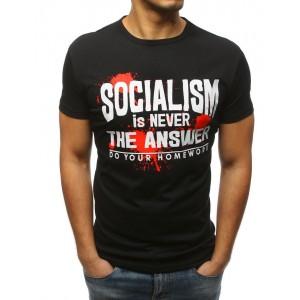 Pánske čierne tričko s krátkym rukávom a originálnym nápisom