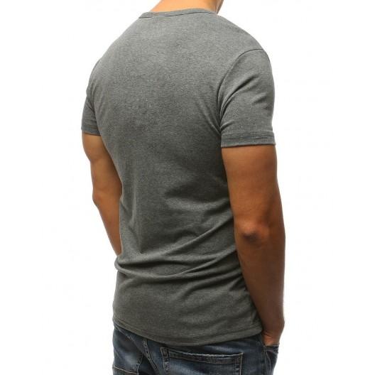 Sivé pánske tričko s krátkym rukávom a bielo oranžovým nápisom