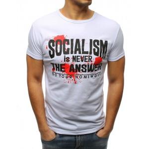 Biele pánske tričko s originálnym nápisom