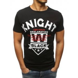 Pánske čierne tričko s krátkym rukávom a nápisom