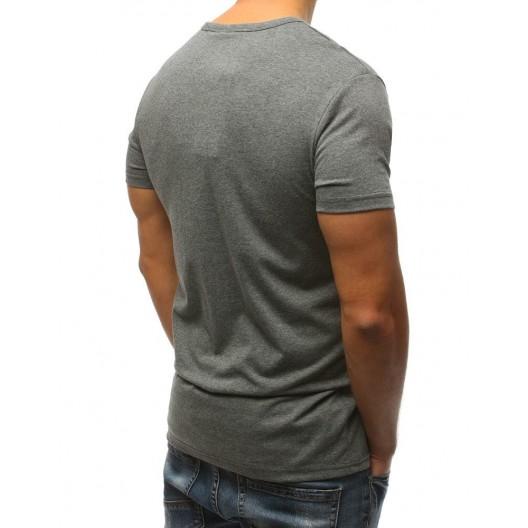 Sivé pánske tričko s originálnym bielo oranžovým nápisom