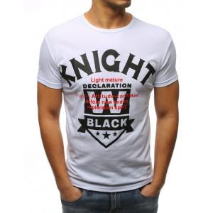 Biele pánske tričko s okrúhlym výstrihom s trendy nápisom
