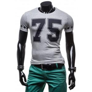 Pánske tričko s krátkym rukávom sivej farby s číslom