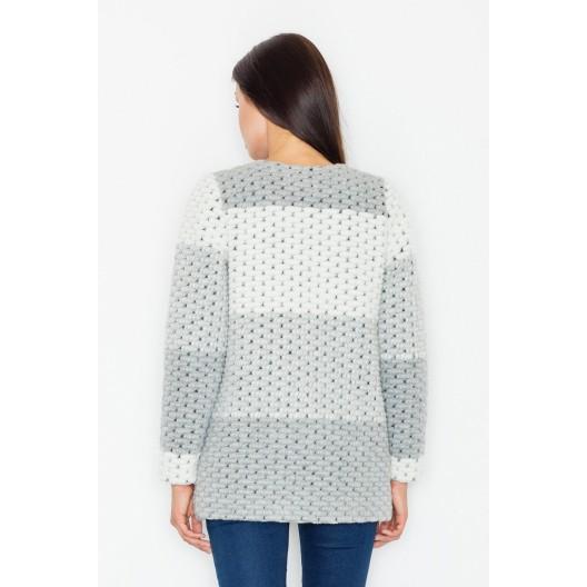Sivý krátky dámsky kabátik bez zapínania