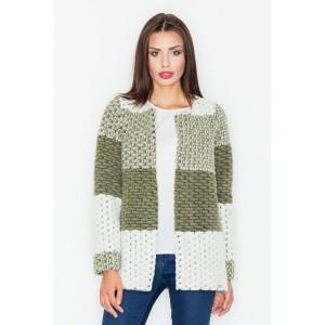 Krátky dámsky pletený kabátik olivovo zelenej farby