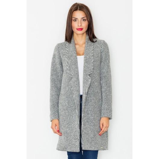 Sivý dlhý kabát dámsky bez zapínania