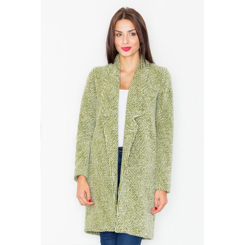 Klasický dámsky dlhý kabát olivovo zelenej farby s dlhým golierom 33aa2bb24f6
