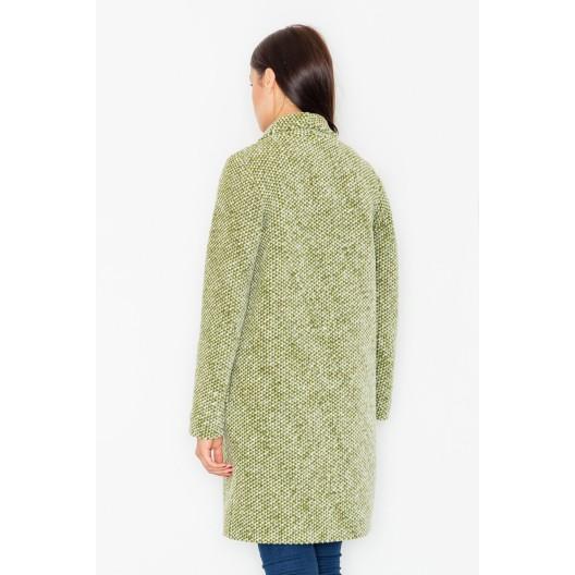 Klasický dámsky dlhý kabát olivovo zelenej farby s dlhým golierom