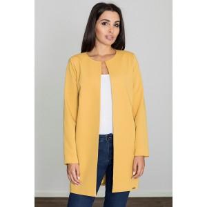 Dámský jarný žltý kabát bez goliera