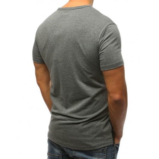 Štýlové sivé pánske tričko s okrúhlym výstrihom a nápisom