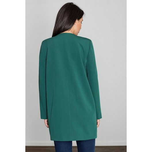Zelený polodlhý jarný kabát bez zapínania