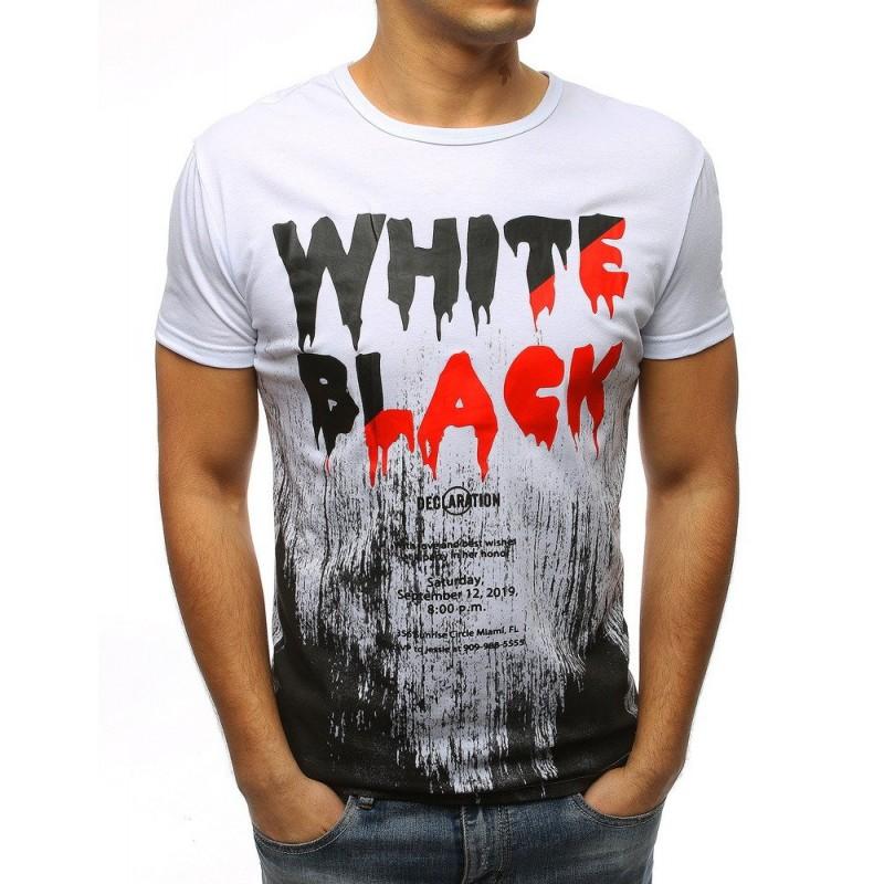e6efb1df5231 Moderné pánske tričko bielej farby s krátkym rukávom a trendy nápisom