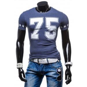 Pánske tričká pre každého muža s krátkym rukávom modrej farby