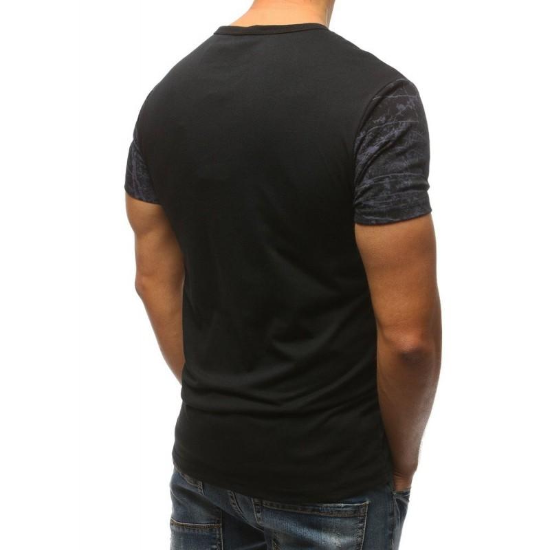 43eae978eb53d Športové pánske tričko čiernej farby so striekanou potlačou a nápisom