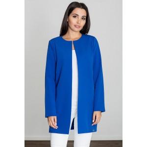 Moderný dámsky kabát bez goliera v modrej farbe