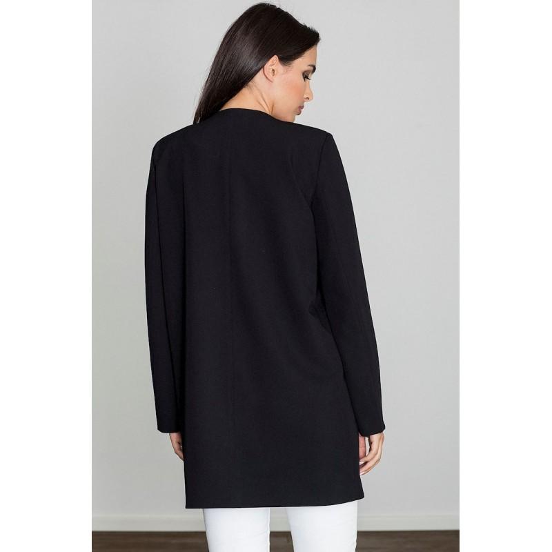 Elegantná dámsky kabátik čiernej farby na jar 24d65dd525f